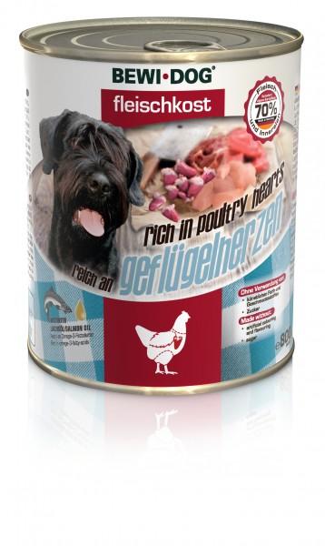 Bewi-dog Fleischkost - Reich an Geflügelherzen